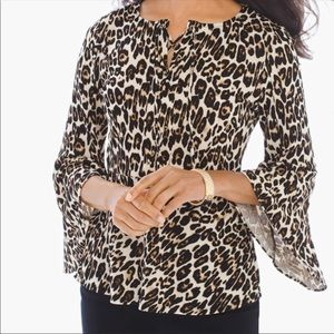 NEW CHICO Cheetah Lace Up Front Bell Sleeve Top